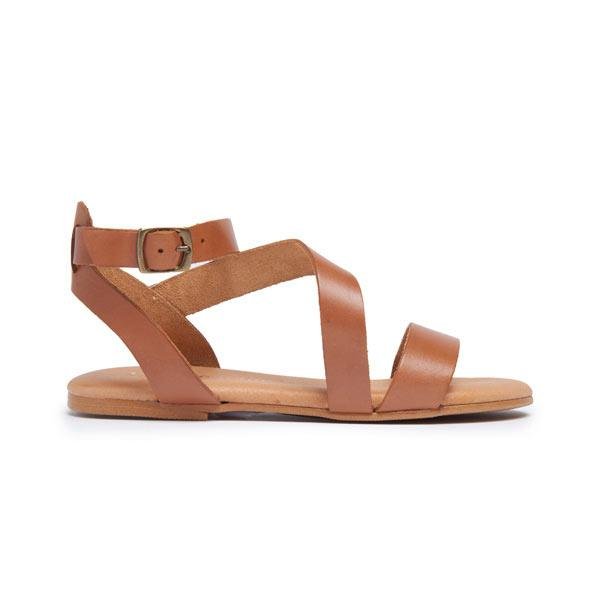 Girl's Childrenchic® Leather Glad Sandal in Natural