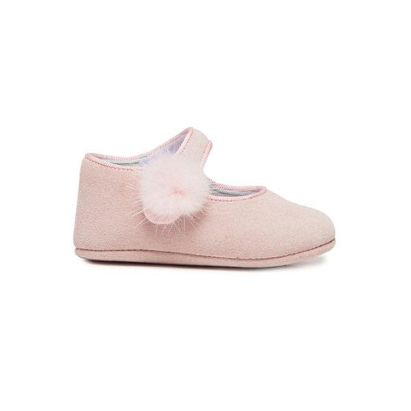 Childrenchic® My-First Rosy Suede Mary Janes with Pompon