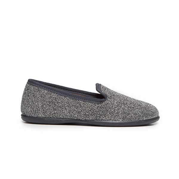 Girl's Grey Sparkling Loafers with Navy Piping
