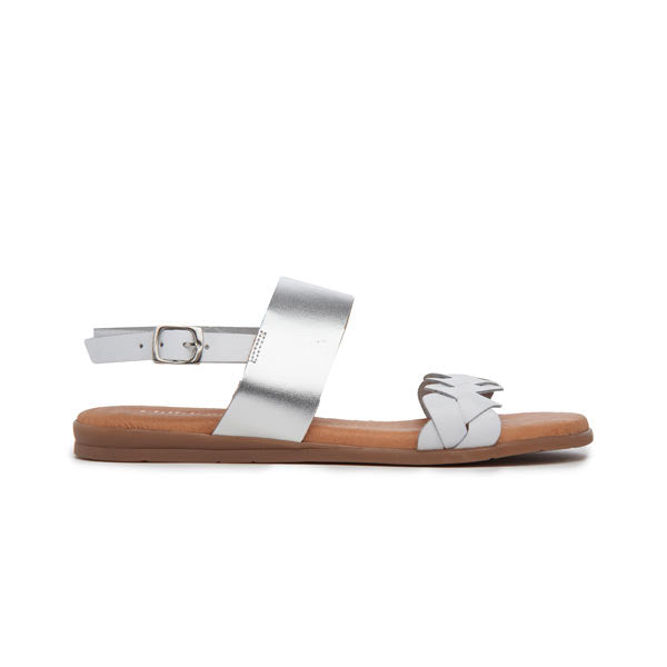 Girl's Childrenchic® Leather Braided Sandal in White and Silver