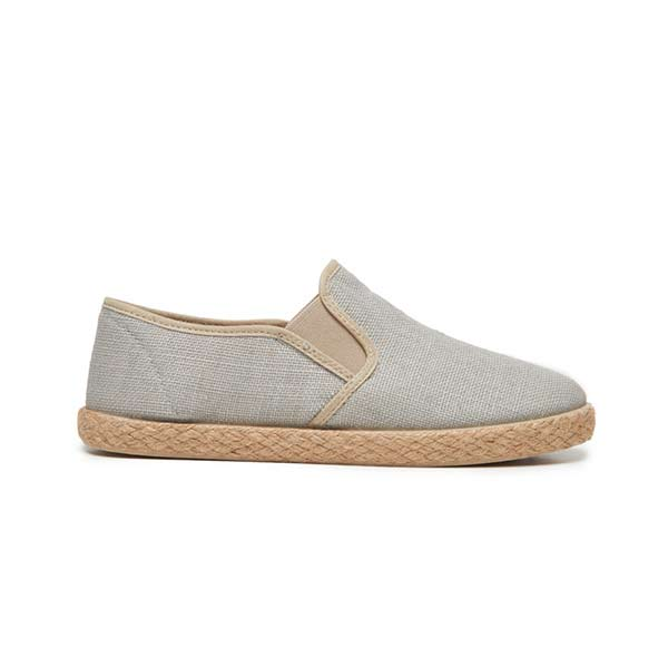 Kids' Childrenchic® Linen Slip-on Sneakers in Light Grey