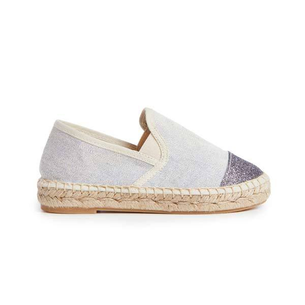 Girls' Childrenchic® Ocean Linen Espadrille with Blue Glitter Captoe