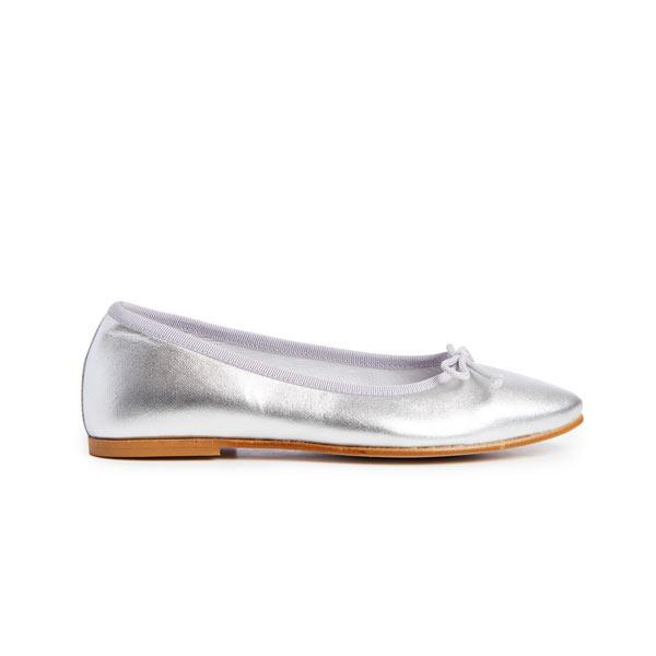 Girls' Childrenchic® Leather Modern Ballet Flats in Silver