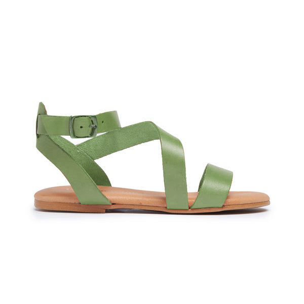 Girl's Childrenchic® Leather Glad Sandal in Leaf