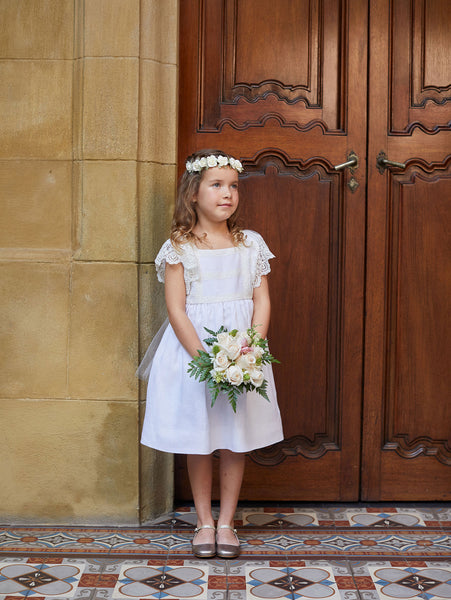 Vintage Lace Flower Girl Gown with Tulle Sash