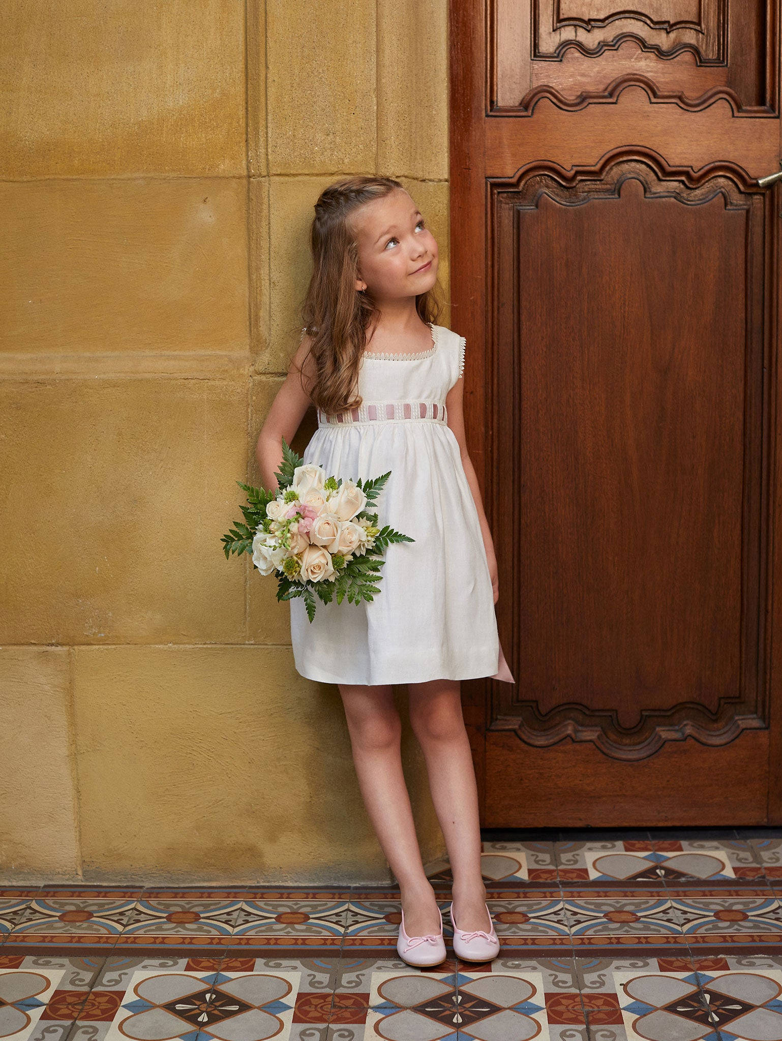 Ivory and Satin Rose Flower Girl Dress