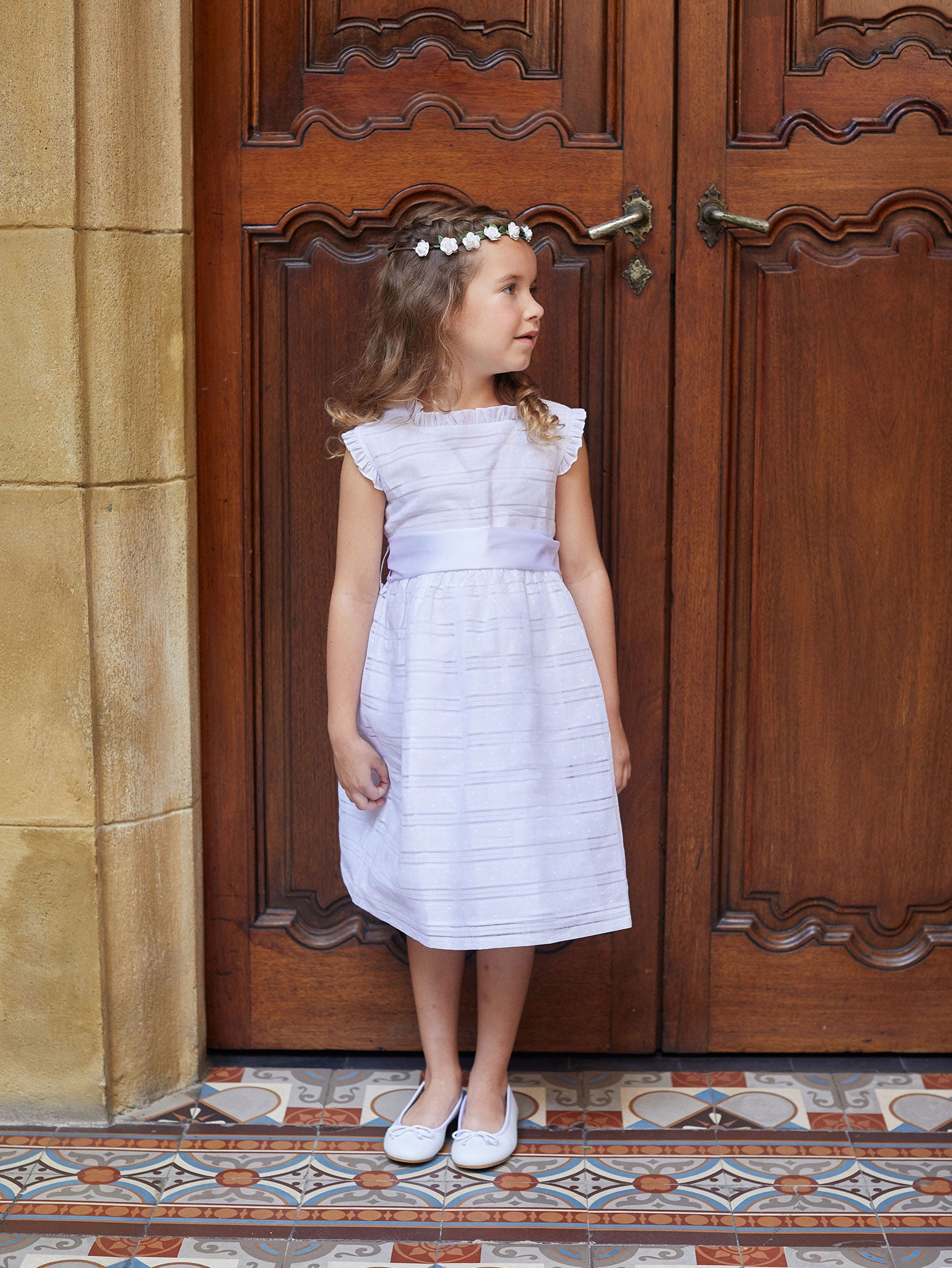 Chic Swiss Dot Stripes Ceremonial Dress with Sash