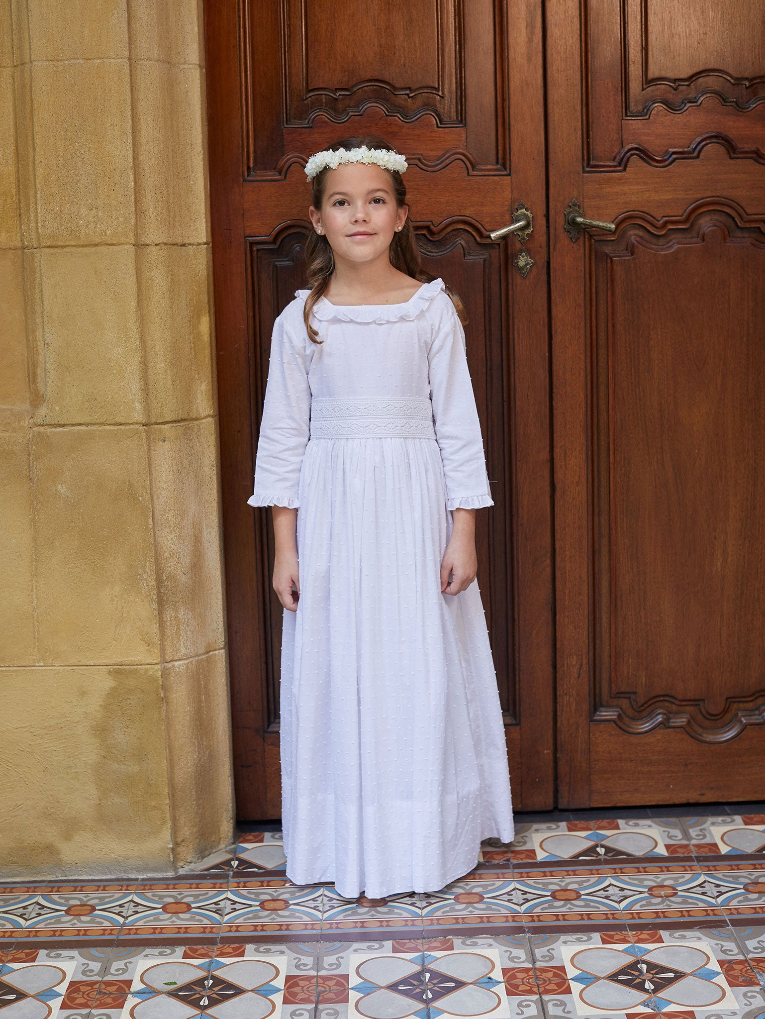 Classical Beauty Swiss Dot and Ruffles First Communion Dress