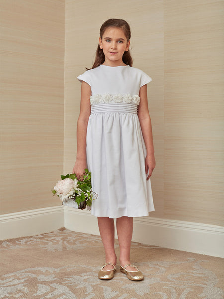 White Cotton Pique Dress with Waist Details