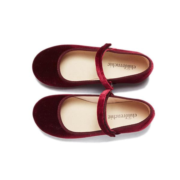 Girls' Childrenchic® Classic Burgundy Velvet Mary Janes