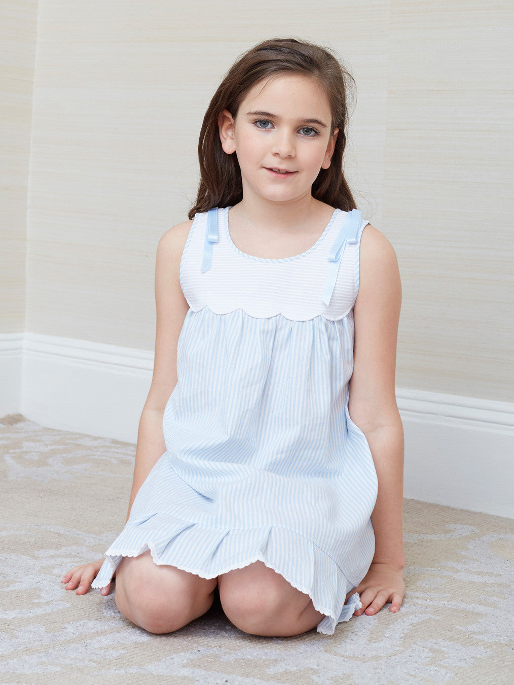 Celeste Girl's Nightgown with Satin Bows