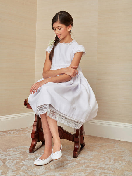 Pretty First Communion Dress in White Cotton Pique
