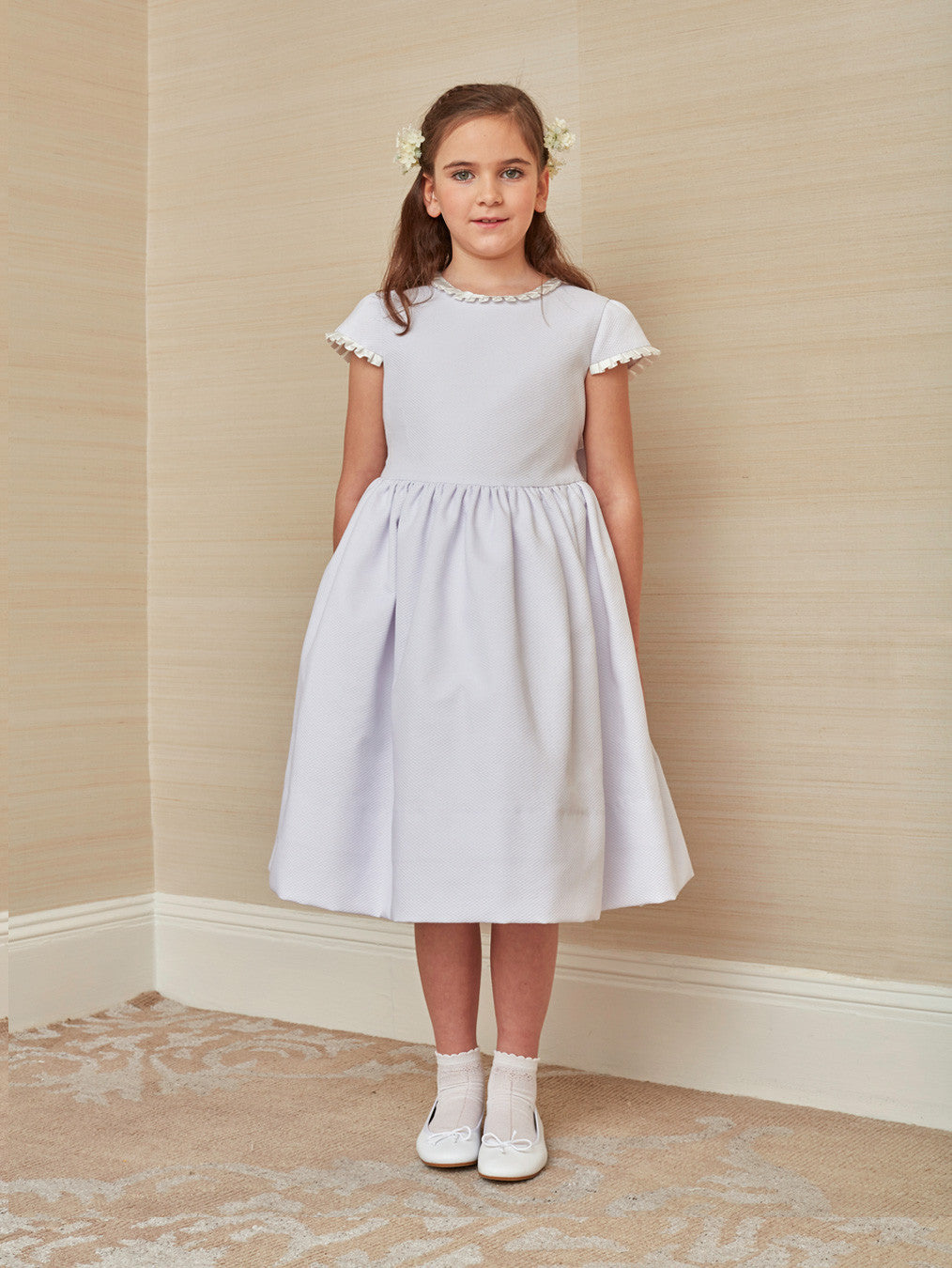 Classic First Communion Dress in White Cotton Pique