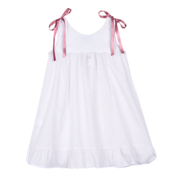 Girl's Twinkle Rose House-dress with Satin Bows