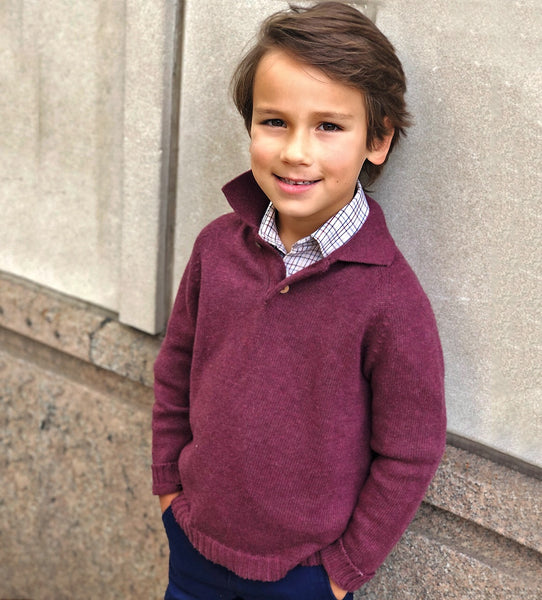 Boy's Year-round Burgundy Sweater