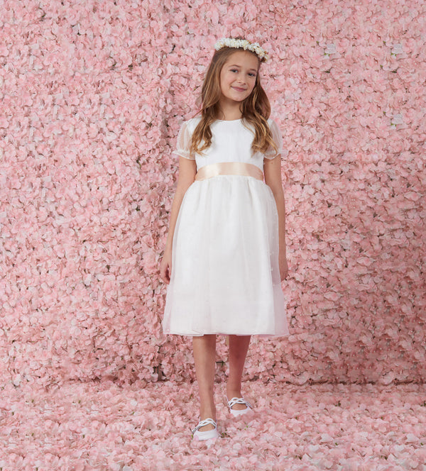 Flor Sweet Apricot Sash Flower Girl Dress