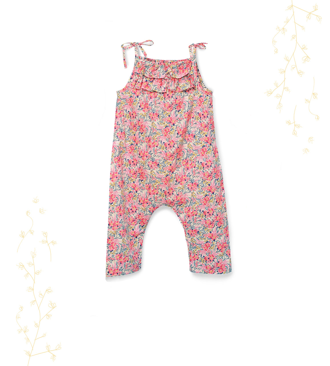Baby Girl Liberty Pink Swirling Petals Ruffled Jumpsuit