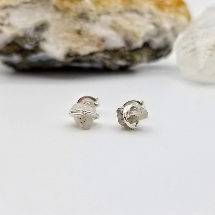 Labradorite Crystal Stud Earrings with Sterling Silver Wire