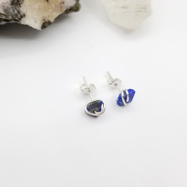Lapis Lazuli Crystal Stud Earrings with Sterling Silver Wire