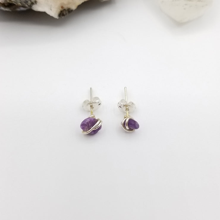 Charoite Crystal Stud Earrings with Sterling Silver Wire