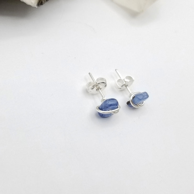Blue Kyanite Crystal Stud Earrings with Sterling Silver