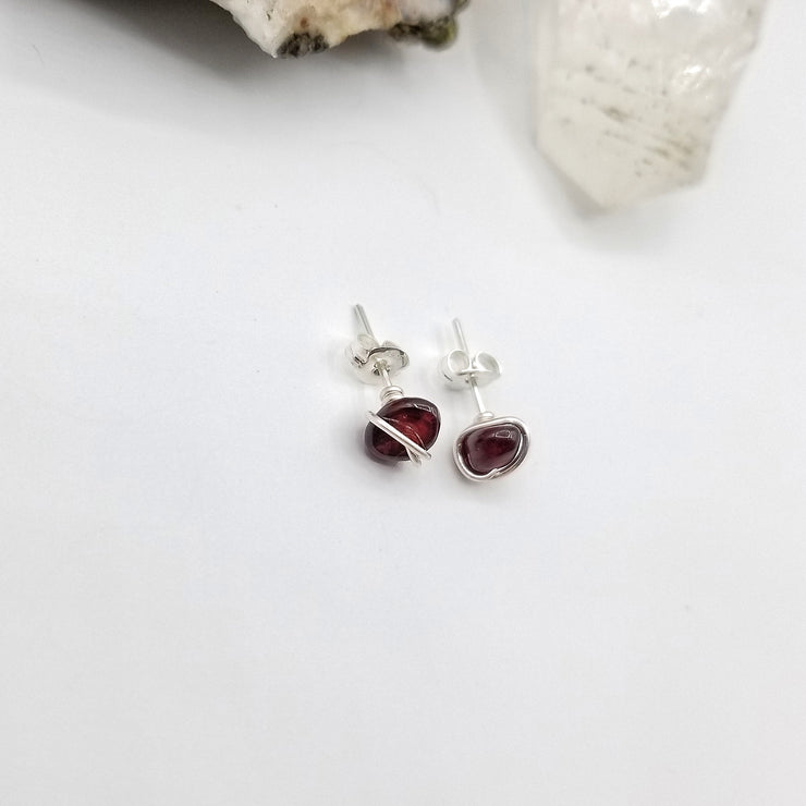 Garnet Crystal Stud Earrings with Sterling Silver Wire