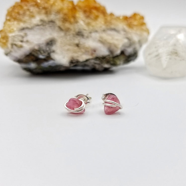 Pink Tourmaline Stud Crystal Earrings with Sterling Silver Wire