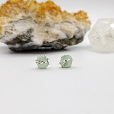Green Aventurine Crystal Stud Earrings with Sterling Silver