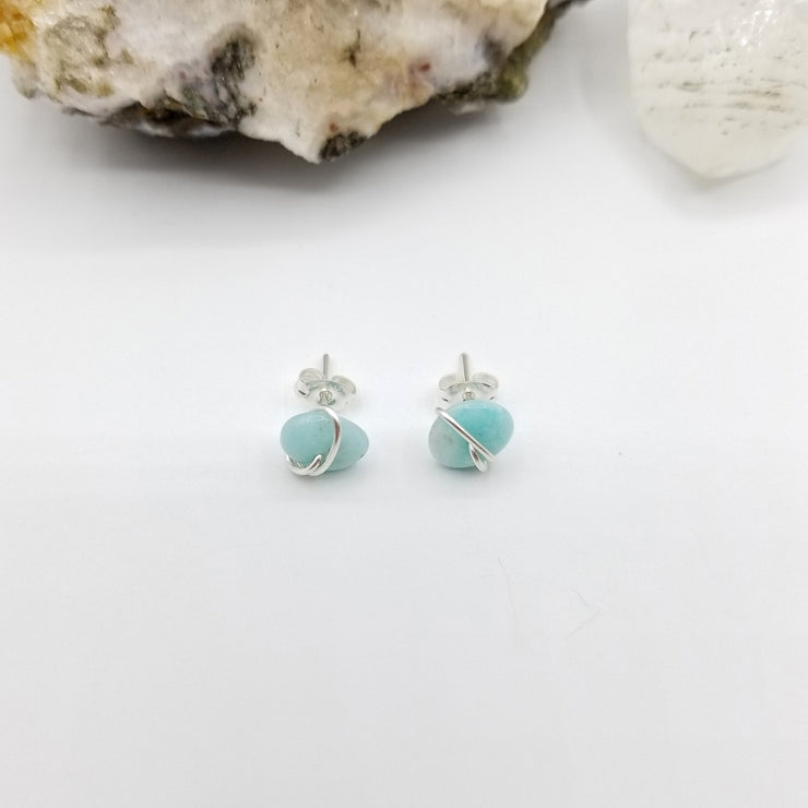 Amazonite Crystal Stud Earrings with Sterling Silver Wire