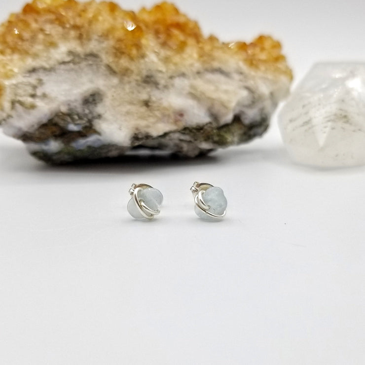 Aquamarine Crystal Stud Earrings with Sterling Silver Wire