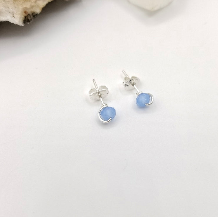 Blue Chalcedony Crystal Stud Earrings with Sterling Silver Wire