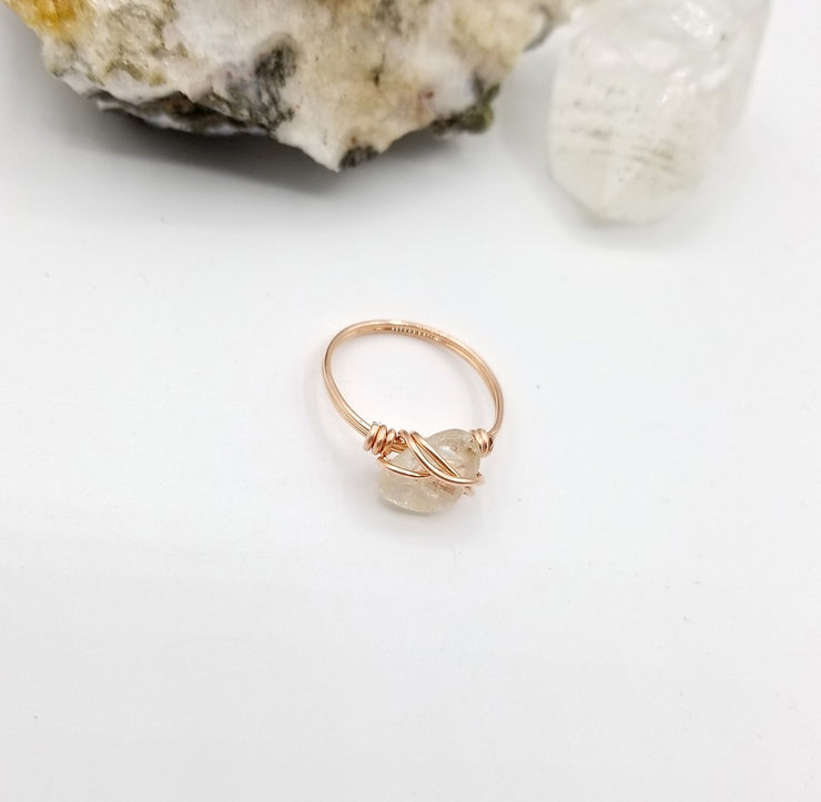 Clear Quartz Ring, Copper Wire Wrapped Ring