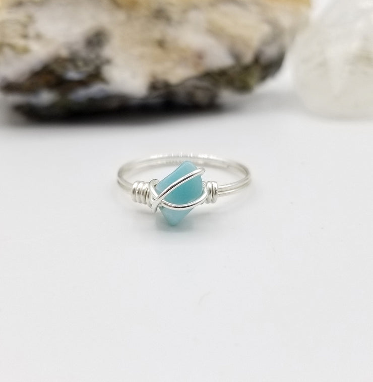 Larimar Ring, Silver Wire Wrapped Ring