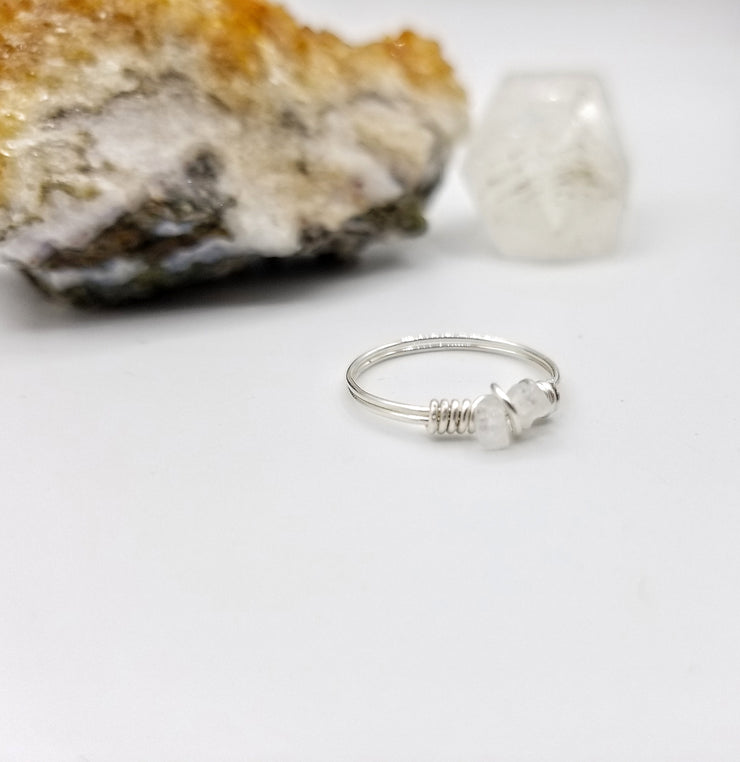 Rainbow Moonstone Ring, Sterling Silver Wire Wrapped Ring