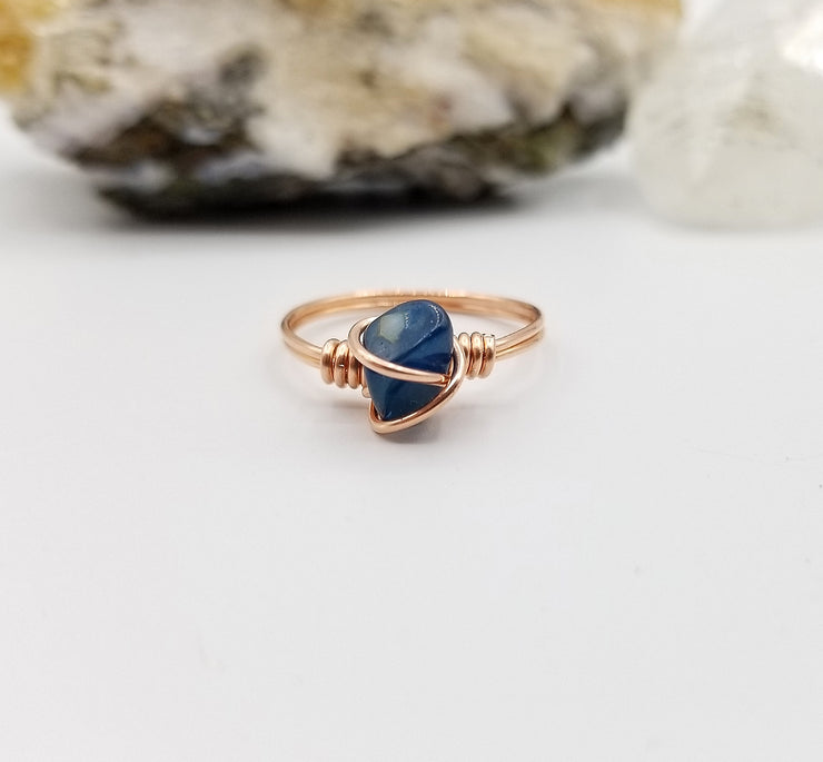 Blue Apatite Ring, Copper Wire Wrapped Ring