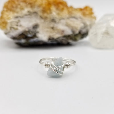 Aquamarine Ring, Silver Wire Wrapped Ring
