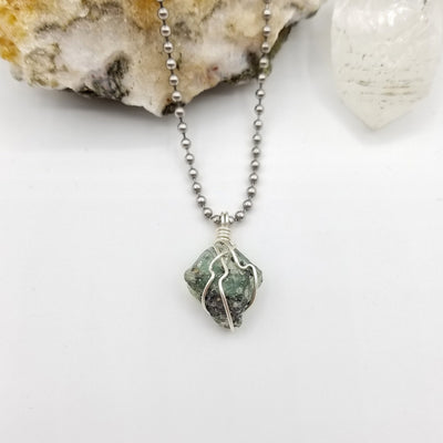 Green Kyanite Necklace, Silver Wire Wrapped Green Kyanite Pendant