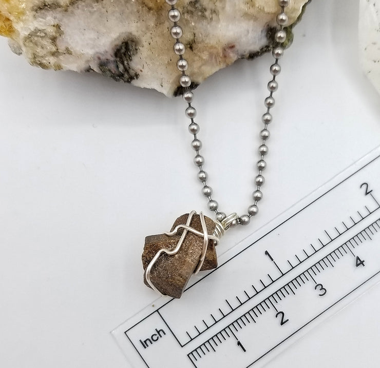 Staurolite Crystal Necklace Pendant with Sterling Silver Wire