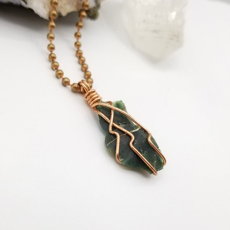 Raw Bloodstone Necklace, Copper Wire Wrapped Bloodstone Pendant
