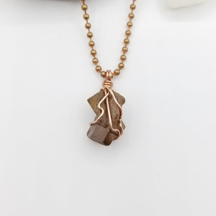 Staurolite Necklace, Copper Wire Wrapped Fairy Cross