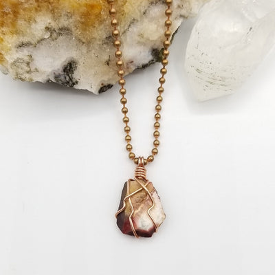 Mookaite Necklace, Copper Wire Wrapped Mookaite Pendant