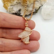 Morganite Necklace, Wire Wrapped Morganite Pendant