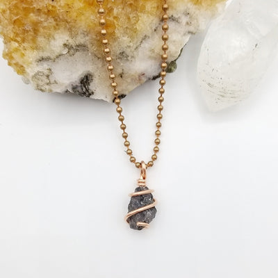 Mystic Merlinite Necklace, Copper Wire Wrapped Merlinite Pendant, Indigo Gabbro