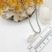 Danburite Necklace, Silver Wire Wrapped Danburite Pendant