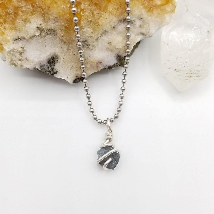 Raw Hematite Necklace Silver Wire Wrapped Pendant