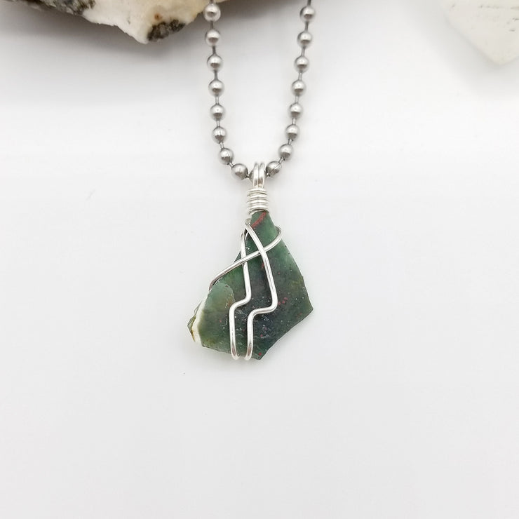 Bloodstone Necklace, Silver Wire Wrapped Bloodstone Pendant