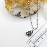 Mystic Merlinite Necklace, Silver Wire Wrapped Indigo Gabbro Pendant