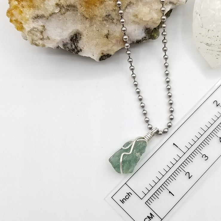 Green Apatite Crystal Necklace, Silver Wire Wrapped Green Apatite Pendant