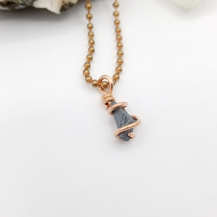 Raw Hematite Necklace, Copper Wire Wrapped Hematite Pendant, Crystal Healing