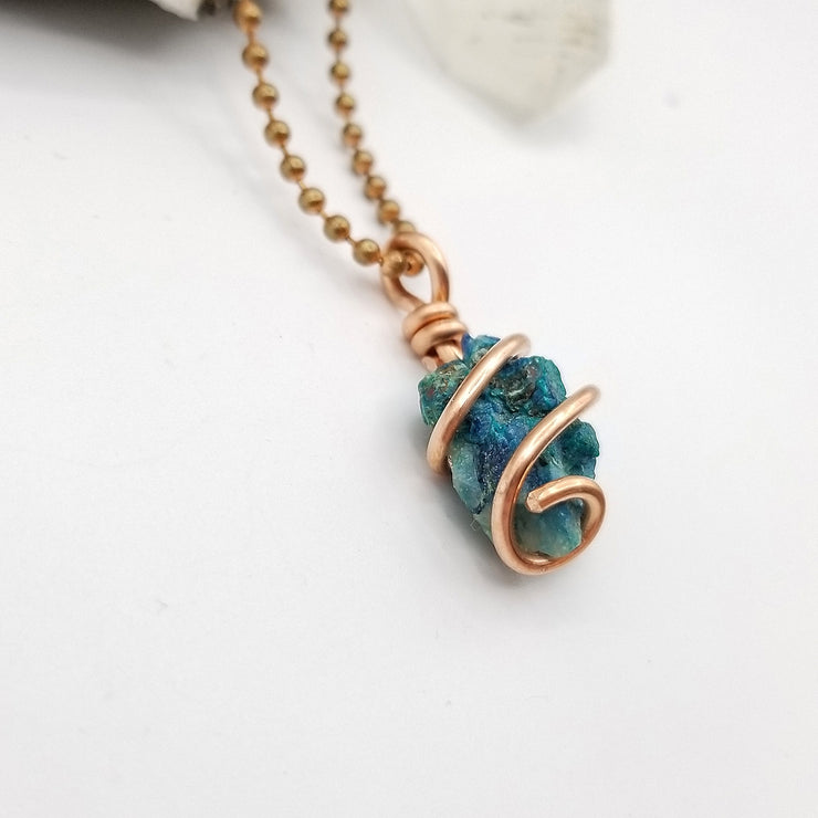 Shattuckite Necklace, Silver Wire Wrapped Shattuckite Pendant